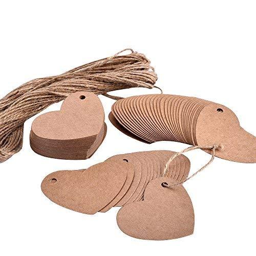 Lvcky 100 pièces en Forme de cœur en Papier Kraft balises Cadeaux balises de Mariage Papier étiquettes avec Ficelle, Marron