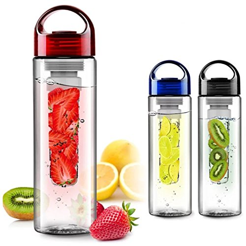 FunRun 700ml Frutta Acqua Bottiglia Infusioni Borraccia Infusore (Plastica Tritan Senza BPA) Perfetta per depurare l'organismo, per gli sport e per le attività all'aperto, Rosso