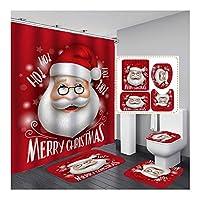 ZSCC クリスマスシャワーカーテン、12フック、滑り止め防水トイレカバーマット、洗えるカーペット、バスルームセット、A、120x180cm