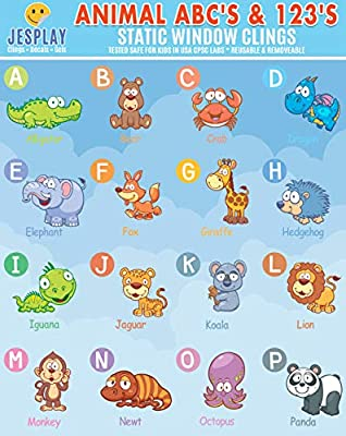 JesPlay Animal Abc's & 123's Static Window Clings - 2 Sheets of Vinyl Window Stickers for Kids - Alphabet, Letters & Numbers - Removeable Window Decals from Incredible Gel and Window Clings