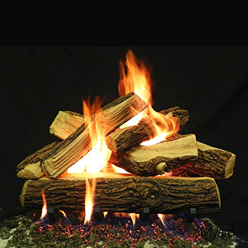 Check Out This PayandPack Myard 24 inches Country Split Style Complete Fire Gas Logs Set with Heart...