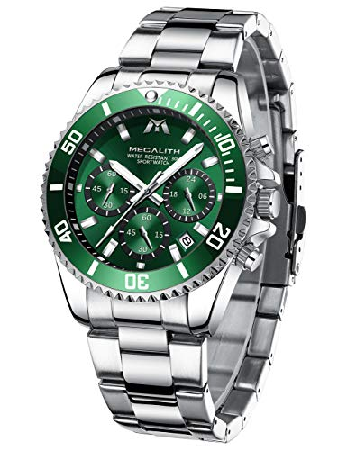 MEGALITH Herrenuhr Silber Chronographen Herren Armbanduhr Edelstahl Wasserdicht Grün Zifferblatt Uhren fur Männer Großes Leuchtende Analog Datum