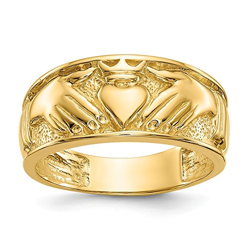 14k Yellow Gold Mens Irish Claddagh Celtic Knot Wedding Ring Band Size 10.00 Man Fine Jewelry For Dad Mens Gifts For Him
