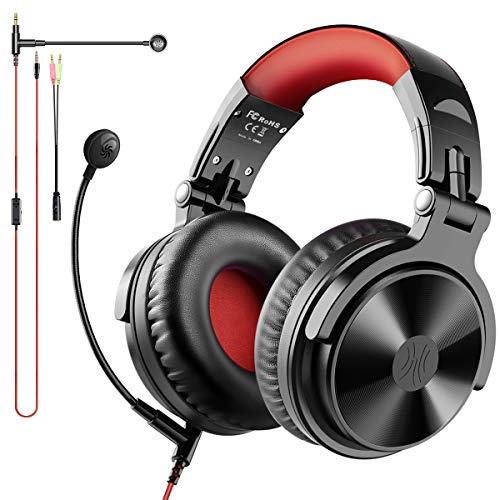 OneOdio Bluetooth Over Ear Headphones Wireless & Wired for Gaming Hi-Fi Foldable Headsets with Boom Mic Extended Microphone for Game, PS4, Xbox one, PC, Cell Phones, Online Education, 30 Hrs Playtime
