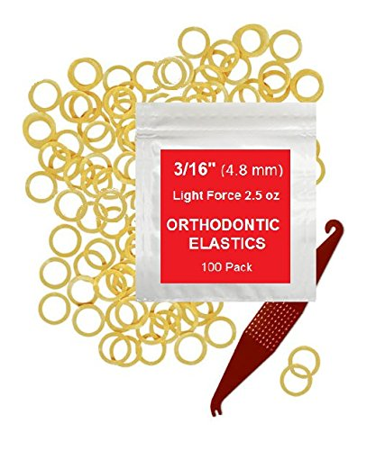 3/16 Inch Orthodontic Elastic Rubber Bands, 100 Pack, Natural, Light 2.5 Ounce Small Rubberbands Dreadlocks Hair Braids Fix Tooth Gap, Free Elastic Placer for Braces