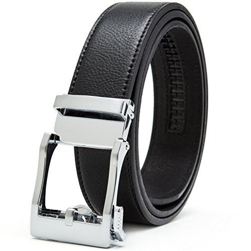 Weinida Cinture Gurscour per Belt blocco automatico Ratchet pelle fibbia scorrevole per Uomo Nero XL