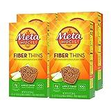 Metamucil Fiber Thins, Psyllium Husk Fiber Supplement, Digestive Health Support and Satisfy Hunger, Apple Crisp Flavored, 12 Servings (Pack of 4)