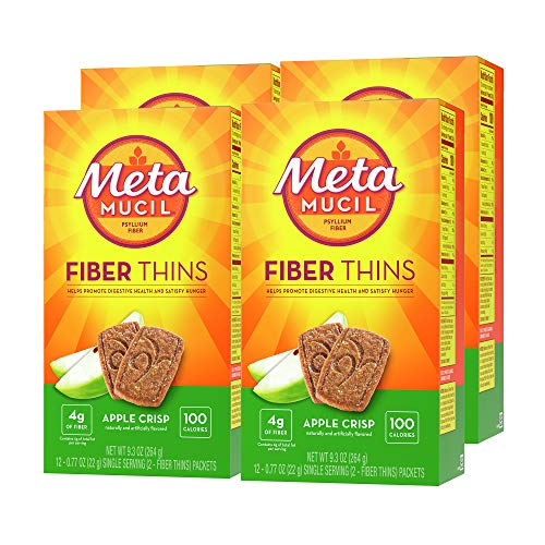 Metamucil Fiber Thins, Psyllium Husk Fiber Supplement, Digestive Health Support and Satisfy Hunger, Apple Crisp Flavored, 12 Servings (Pack of 4)