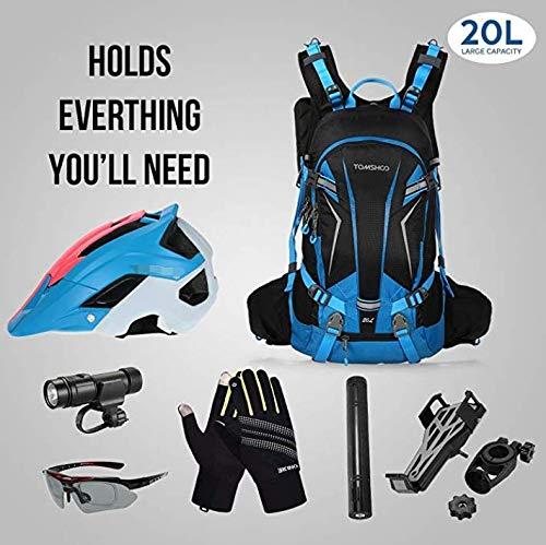 TOMSHOO Fahrradrucksack 20L, Outdoor Rucksack Multifunktionaler Wanderrucksack Skirucksack für Radfahren Reiten Bergsteigen mit Regenschutzkappe und Helmabdeckung - 6