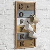 MyGift 6-Hook Rustic Multi-Colored Wood Wall Mounted Coffee Mug Rack