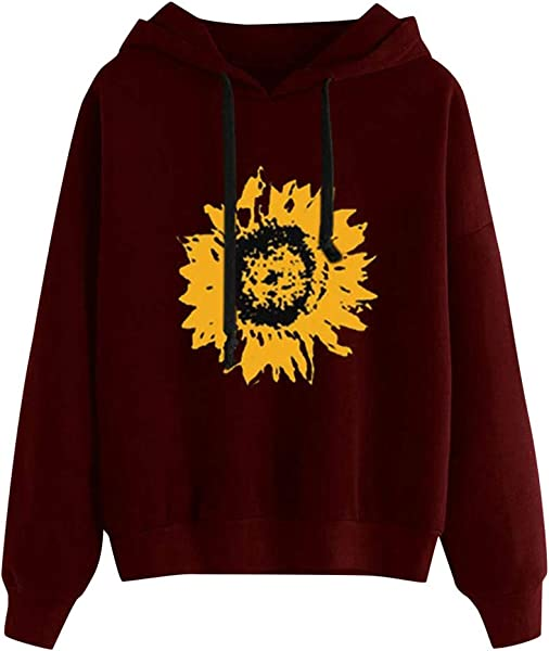 Autumn Winter Womens Hoodie Sweatshirt Sunflower Print Long Sleeve Hooded Pullover Tops Drawstring Casual Loose Sports Blouse