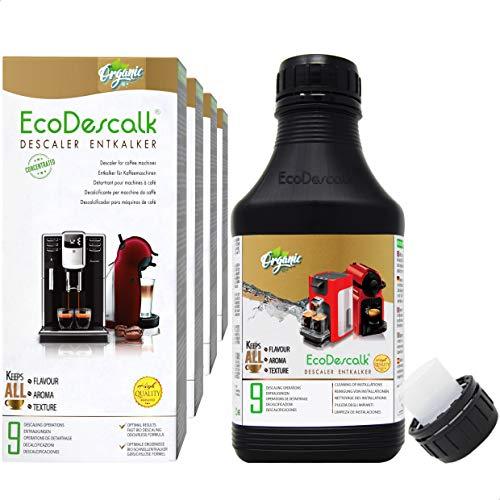 EcoDescalk Biologico Concentrato (4x9 Decalcificazioni). Decalcificante 100% Naturale. Detergente per Macchine da Caffè. Tutte le Marche. Prodotto CE.