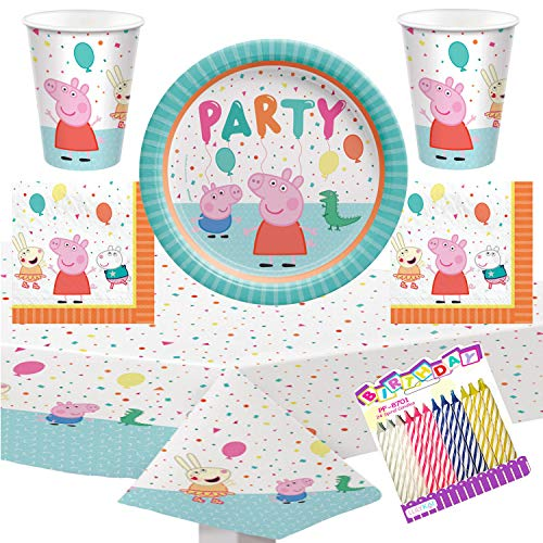 Peppa Pig Party Supplies Pack Serves 16: 9' Plates Luncheon Napkins Cups and Table Cover with Birthday Candles (Bundle for 16)
