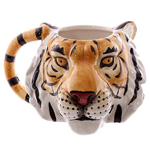 Telihome Taza de café Silvestre Cara Aventura 3D León Tigre Leopardo Cabeza Personalizada de cerámica Taza de té Animales 1 Pieza,Tiger