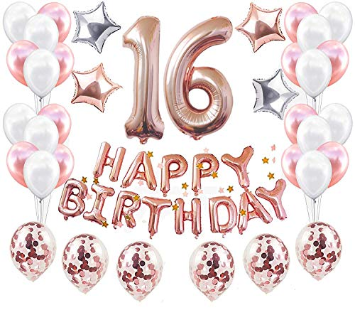 JeVenis 38 PCS Rose Gold 16th Birthday Decorations Party Supplies Number 16 Birthday Balloons Happy Birthday Balloon Banner 16 Birthday Decorations for Her