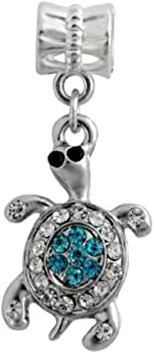 J&M Dangle Clear and Blue Crystal Turtle Charm Bead for Bracelets