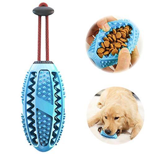 Aidiyapet Zahnbürsten-Stick, Ball Leckerli-Spender für Hunde Welpen-Zahnpflege, Bürsten und Kauspielzeug, ungiftiges Naturkautschuk (Blau)