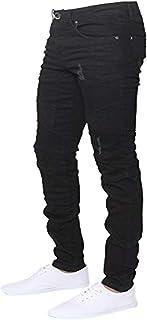 ENZO Mens Designer Stretch Skinny Fit Biker Denim Jeans Pants All Waist Sizes