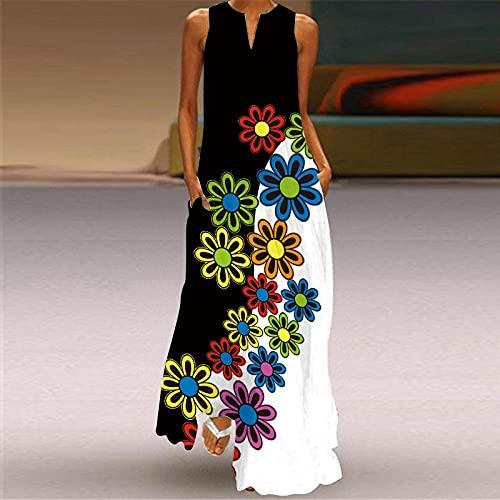Vestido De Playa Para Mujer,Vestido De Mujer Flor Colorida Estampado En 3D Escote En V Costuras En Blanco Y Negro Sin Mangas Vestido Largo Bolsillo Falda De Swing De Gran Tamaño Informal Fiesta De