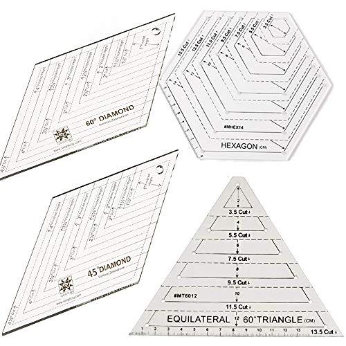 ANCLLO 4 reglas para acolchar, con triángulo y diamante de 60 grados, diamante de 45 grados, plantillas de forma hexagonal, retazos transparentes, regla para manualidades, herramientas de bricolaje