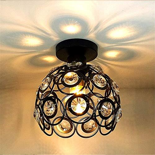 MGWA Lámpara de techo circular simple para pasillo de dormitorio, lámpara de techo, luz de cristal, faroles originales, balcón nórdico, 20 x 20 cm (color: negro)