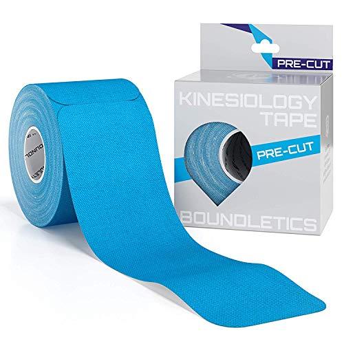 Boundletics Kinesiologie Tape vorgeschnitten (5 x 25 cm) - 20 Streifen Physiotape Precut - wasserfest & elastisch - Kinesio Tapes mit Anleitung (Blau)