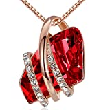 Leafael Wish Stone 18K Rose Gold Plated Pendant Necklace Made with Swarovski Crystals Ruby Red January July Birthstone, 18'+ 2'