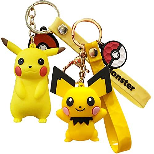wopin 2 pcs Pikachu Key chain key ring school bag decorations Pikachu doll car key ring keychain creative small jewellery cartoon gift