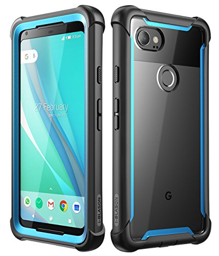 i-Blason Case for Google Pixel 2 XL 2017 Release, [Ares] Full-Body Rugged Clear Bumper Case with Built-in Screen Protector(Black Blue)