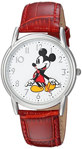 DISNEY Men's Mickey Mouse Analog-Quartz Watch with Leather-Synthetic Strap, red, 17 (Model: WDS000402)