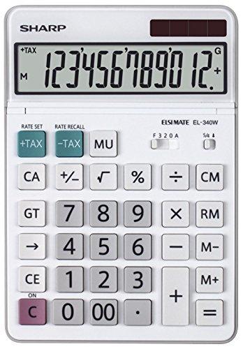 Sharp EL-340W Tischrechner mit beweglichem Display (Solar-/Batteriebetrieben) weiß