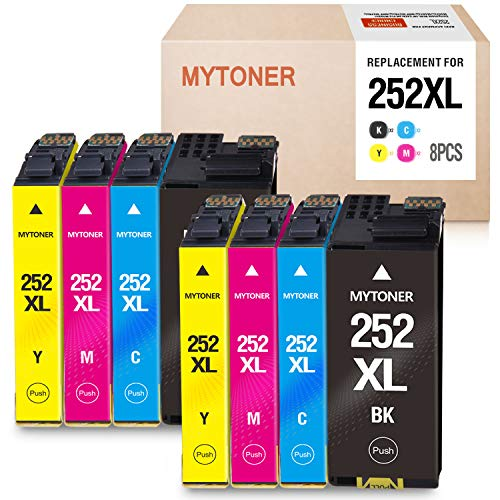 MYTONER Remanufactured Ink Cartridge Replacement for Epson 252XL 252 XL 252 Ink for Workforce WF-7620 WF-7710 WF-3640 WF-3630 WF-3620 WF-7610 WF-7110 Printer ( Big-Black Cyan Magenta Yellow,8-Pack) Delaware