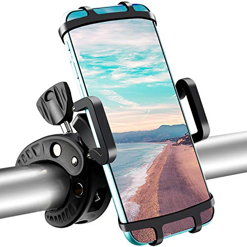 Bike Phone Mount,Bicycle Cellphone Holder Universal Anti Shake,Non-Slip Cradle for Motorcycle Handlebar with 360° Rotation for iPhone 11 X, 8/8 Plus, 7, 6/6s Plus, All Galaxy, 4.0'-6.0' Phones