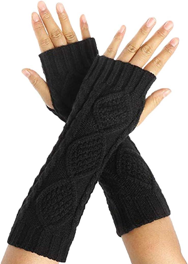 Camii Mia Women's Winter 2 Pack Knit Fingerless Gloves Thumbhole Arm Warmers