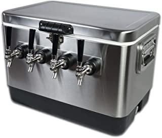 COLDBREAK 4TSPT Jockey Box, 4 Taps, Rear Inputs, 54 quart Cooler, 50' Coils, Steel Shanks, Includes Stainless Faucets, Silver