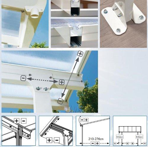Hochwertige ALU Terrassenüberdachung/Veranda – 550 x 300 (BxT) / Überdachung/Pergola Palram Feria Weiß - 4