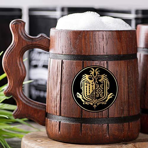 Monster Hunter World Mug. Gamer Gift. MHW Beer Mug. Beer Mug. Wooden Beer Mug. Gamer Mug. Monster Hunter Tankard. Gift For Him. Beer Stein Wood #107/0.6L / 22 ounces