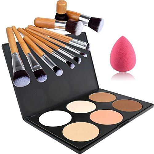 Lover Bar 6 Couleur Contour Kit-Make Up Enlumineurs et Illuminateurs Palette-Professionnels Bronzantes-Visage Pressée Poudre Fond de teint Anti Cerne+Blender éponge 11pcs Pinceaux de Maquillage Set