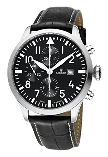 KRONOS - Pilot Automatic Chronograph Black 991.55 - Reloj de Caballero automático, Correa de Piel Negra, Color Esfera: Negra