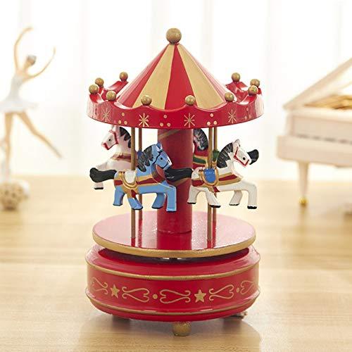 IADZ Caja de música, carrusel caja de música regalo de cumpleaños novia joyería creativa dibujos animados niños juguete decoración del hogar