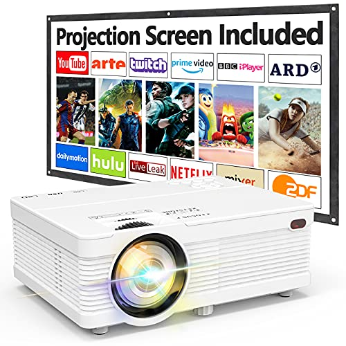 AK-81 Projector with Projection Screen 1080P Full HD Supported, 6500 Lux...