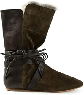 Nia Green Suede Leather Fur Lined Boots