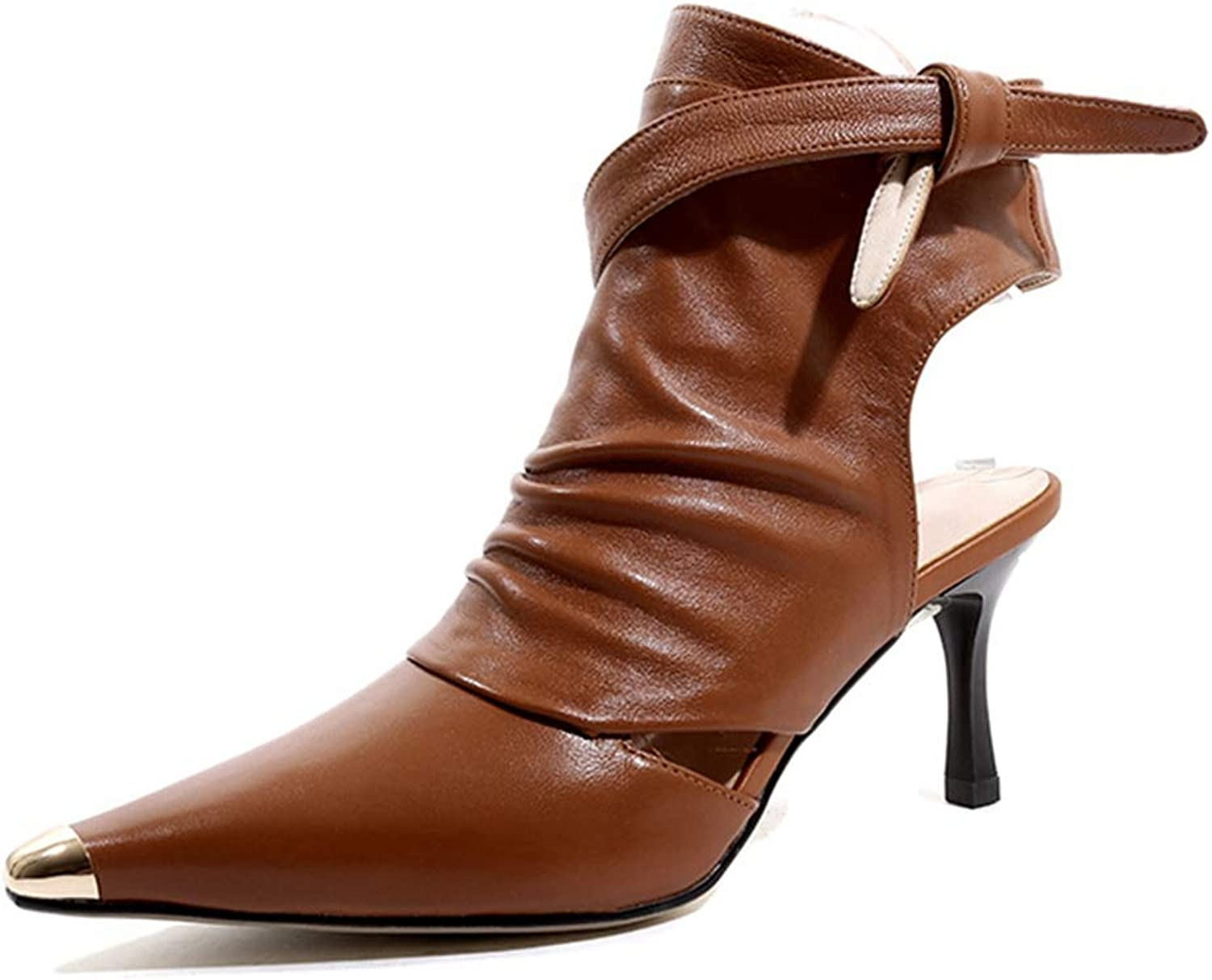 ASILETO Ankle Strap Pointed Toe Summer Sandals Women Apricot Genuine Leather Stiletto High Heels Cross Straps Hollow Ankle Boots Female
