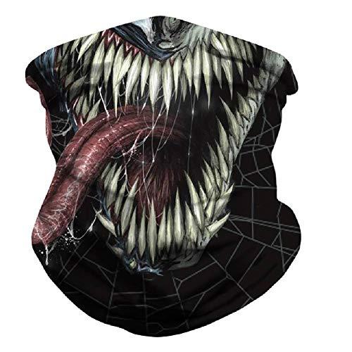 Mwfus Women Men Seamless Bandana Face Mask Breathable Neck Gaiter Rave Balaclava Mouth Cover for Sun Dust Protection(Venom 01)