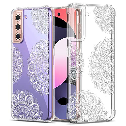 GREATRULY Floral Clear Case for Galaxy S21 for Women/Girls,Pretty Phone Case for Samsung Galaxy S21,Flower Design Slim Soft Transparent Drop Proof TPU Protective Silicone Bumper Cover Shell,FL-U