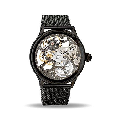 Davis - Herren Skeleton Uhr Mechanisch Skelett mit sichtbarem Uhrwerk Mesh Armband (Schwarz)
