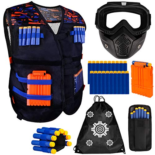 Meland Kids Tactical Vest Kit for Nerf Guns N-Strike Elite Series With Detachable Tactical Face Mask for Nerf Rival, Refill Darts, Dart Pouch, Reload Clips and Wrist Band for Boys Gifts Age 6 7 8 9 10