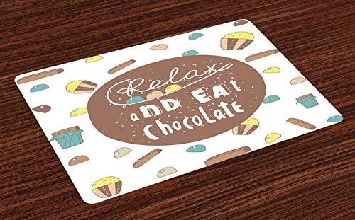 ABAKUHAUS Gezegde Placemat Set van 4, Ontspan en eet van de Chocolade Text, Wasbare Stoffen Placemat voor Eettafel, Veelkleurig
