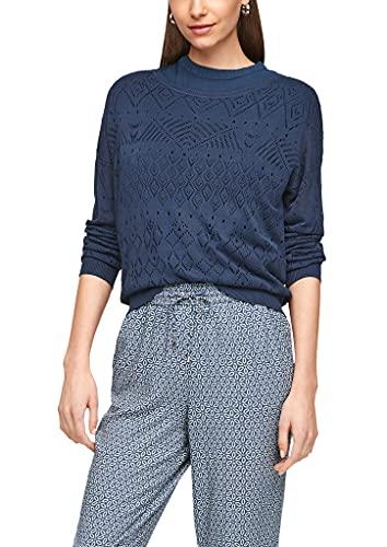 s.Oliver Damen Leichter Pullover mit Ajourmuster Faded Blue 38