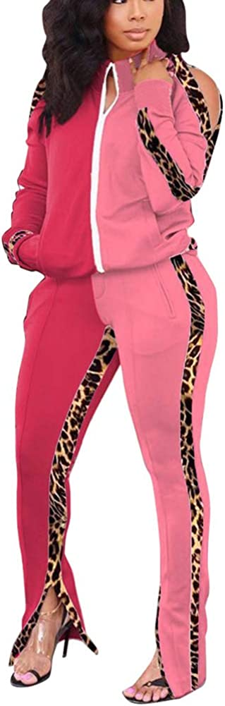 Bluewolfsea Womens Jogging Suits Sets 2 Piece Outfits Tracksuit Sexy Leopard Striped Long Sleeve Jacket and Pants Set